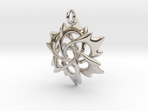 6 Flame Petals - 2.5cm - wLoopet in Rhodium Plated Brass
