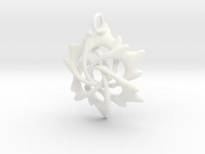 6 Flame Petals - 2.5cm - wLoopet in White Processed Versatile Plastic