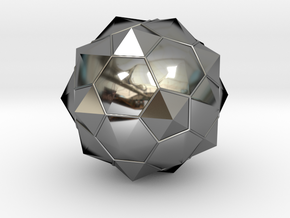 Truncated Icosahedron - aka Football in Fine Detail Polished Silver