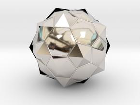 Truncated Icosahedron - aka Football in Rhodium Plated Brass