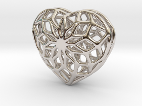 Valentine Heart - small in Rhodium Plated Brass