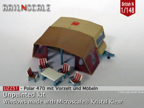 Polar 470 Caravan with tent (British N 1:148) in Smooth Fine Detail Plastic