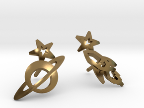 Earrings - Rocket beyond Barriers in Polished Bronze