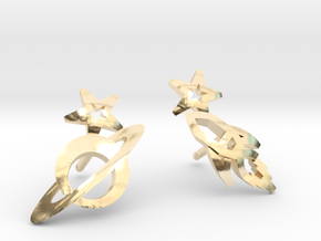 Earrings - Rocket beyond Barriers in 14k Gold Plated Brass