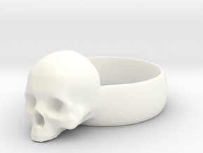 Skull Ring in White Processed Versatile Plastic