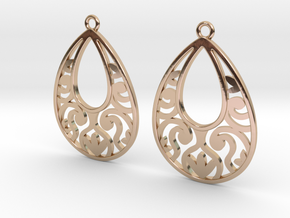 Teardrop Filigree Earrings in 14k Rose Gold