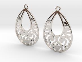 Teardrop Filigree Earrings in Rhodium Plated Brass