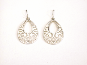 Teardrop Filigree Earrings in Fine Detail Polished Silver