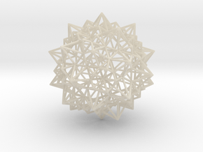 Stellated Icosidodecahedron - Wireframe in White Acrylic