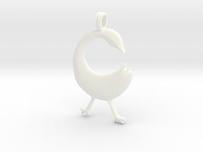 SANKOFA Symbol Jewelry Pendant in White Processed Versatile Plastic