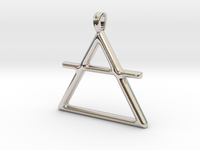 AIR Alchemy symbol Jewelry pendant in Rhodium Plated Brass