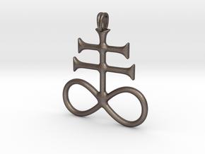 SULFUR Alchemy Symbol Jewelry Pendant in Polished Bronzed Silver Steel