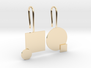 Carré et cercle Earrings in 14k Gold Plated Brass