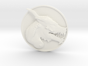 Dragon Medallion  in White Processed Versatile Plastic