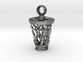 tritium: Witch Lantern vial pendant keyfob in Fine Detail Polished Silver