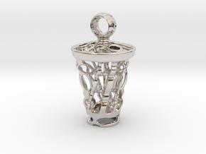 tritium: Witch Lantern vial pendant keyfob in Rhodium Plated Brass