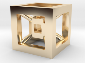 4D Cube(Tesseract) 12.5mm in 14k Gold Plated Brass