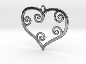 Heart Pendant Charm in Fine Detail Polished Silver