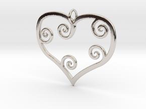 Heart Pendant Charm in Platinum