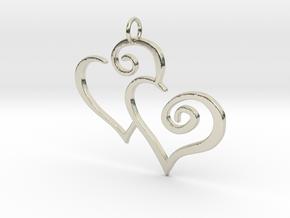 2-Heart Charm Pendant in 14k White Gold