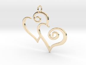 2-Heart Charm Pendant in 14k Gold Plated Brass