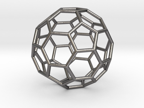 0269 Truncated Icosahedron E (a=1cm) #001 in Polished Nickel Steel