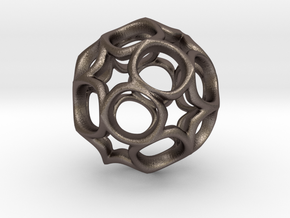 Truncated icosahedron 3CM in Polished Bronzed Silver Steel