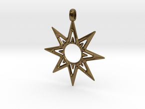 STAR OF VENUS Jewelry Symbol Pendant. in Polished Bronze