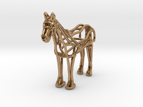 Horse Wireframe keychain in Polished Brass