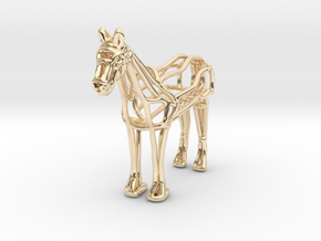 Horse Wireframe keychain in 14K Yellow Gold