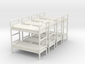Bunk bed 01.Scale HO (1:87) in White Strong & Flexible