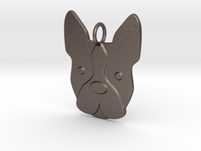 Boston Terrier Charm in Polished Bronzed Silver Steel