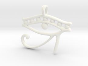 Eye of Horus Symbol Jewelry Pendant in White Processed Versatile Plastic
