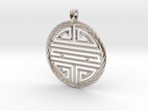 Shou Symbol Jewelry Pendant in Platinum