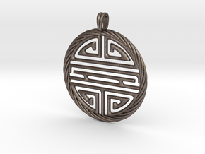 Shou Symbol Jewelry Pendant in Polished Bronzed Silver Steel