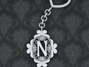 N Keychain Art Nouveau in White Natural Versatile Plastic