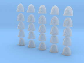 Squad Markings - 25, 28mm Shoulder Pads in Smooth Fine Detail Plastic