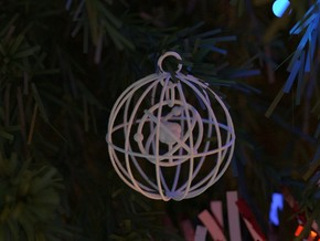 Christmas Bauble Atom in White Natural Versatile Plastic