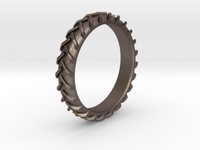 Tractor Tire Size 5 in Polished Bronzed Silver Steel