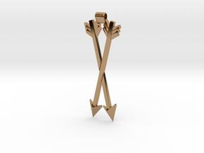 Crossed Arrows Pendant in Polished Brass