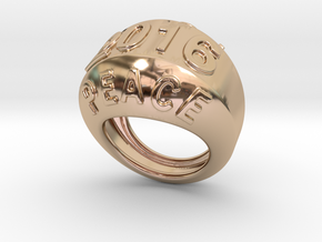 2016 Ring Of Peace 16 - Italian Size 16 in 14k Rose Gold Plated Brass