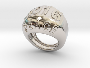 2016 Ring Of Peace 16 - Italian Size 16 in Rhodium Plated Brass