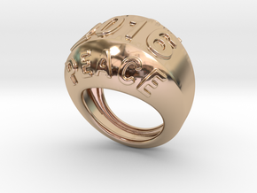 2016 Ring Of Peace 18 - Italian Size 18 in 14k Rose Gold Plated Brass