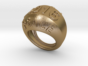 2016 Ring Of Peace 20 - Italian Size 20 in Polished Gold Steel