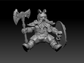 Mounted Dwarf Warrior 35mm (Goat & Bear Version) in Frosted Ultra Detail