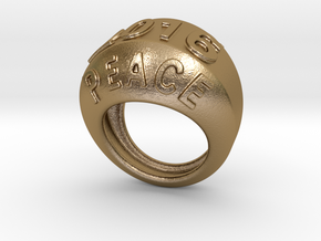2016 Ring Of Peace 30 - Italian Size 30 in Polished Gold Steel