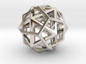 IcosoDodecahedron Thick - 3.5cm in Rhodium Plated Brass