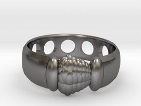 Alien Egg Ring Delta in Polished Nickel Steel