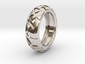 Shapes Ring19.6 in Rhodium Plated Brass