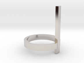 Vertical Bar Ring, Size 7 in Rhodium Plated Brass